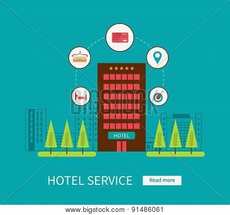 Flat design modern vector illustration icons set of urban landscape and hotel service