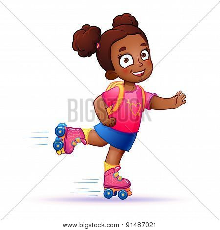 Little girl dark skin rides on roller skates.