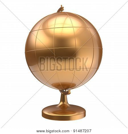 Gold Globe Blank Planet Earth Global Geography School Icon