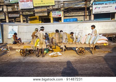 Worker At Chawri Bazaar Have A Rest