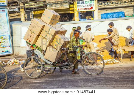 Rickshaw Rider Transports Heavy Goods Early Morning
