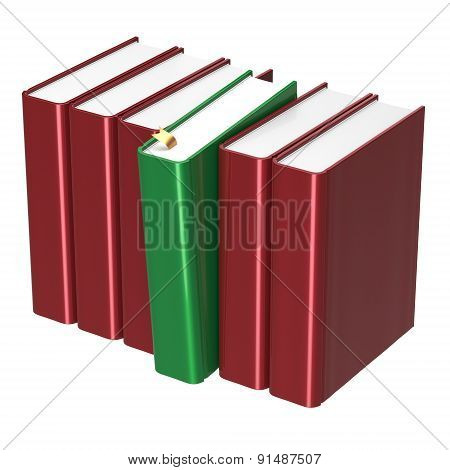Books Row Blank Red One Green Selected Answer Icon