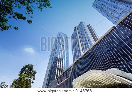 low angle view of modern office building
