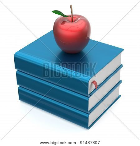 Blue Books Textbooks Stack Red Apple Education Wisdom Icon