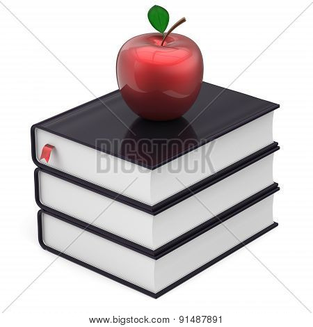 Books Black Apple Red Index Textbooks Stack Education Icon