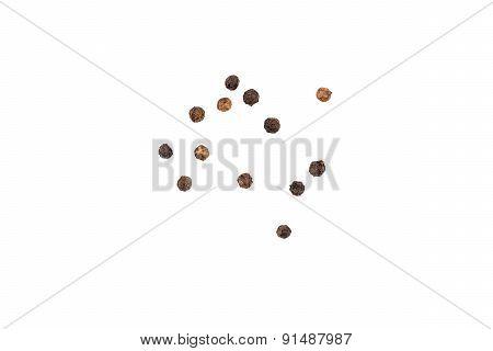 Black Pepper Seeds On White