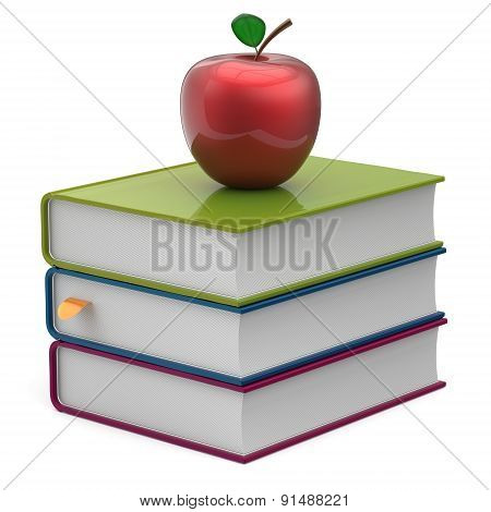 Books Colorful Blank Stack Red Apple Textbooks Icon