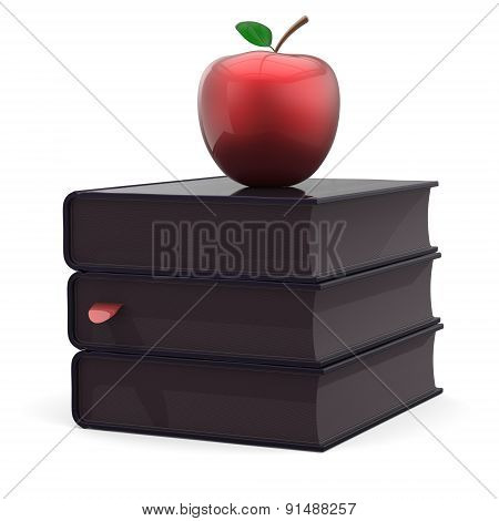 Black Books Red Apple Education Index Textbooks Stack Icon