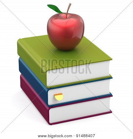 Books Colorful Apple Red Stack Textbooks Studying Icon