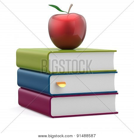 Books Blank Textbooks Stack Red Apple Education Icon