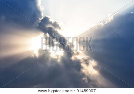 Sunset Burning Blue Sky With White Big Cloud And Sunrise Ray