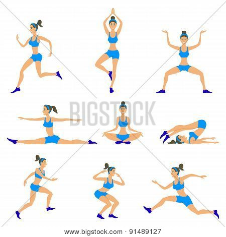 Vector Yoga Set Women Sketch Asana Girl Exercises Healthy  Lifestyle