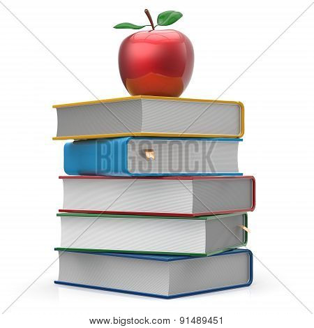 Books Stack Colorful Textbooks And Red Apple Studying Icon