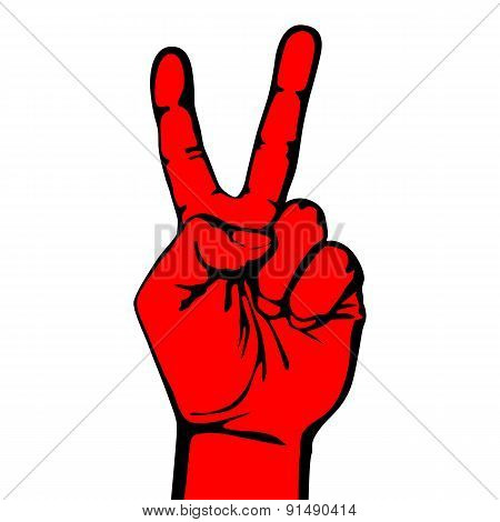 V Hand Victory Symbol Vector Logo Design Creative Win Icon.