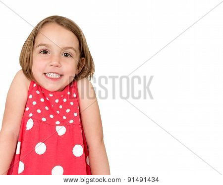 Little Girl Is Shrugging And Smiling. Place For Your Text Or Logo