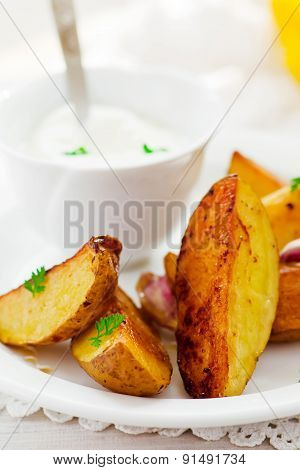 Segments Of Baked Potato