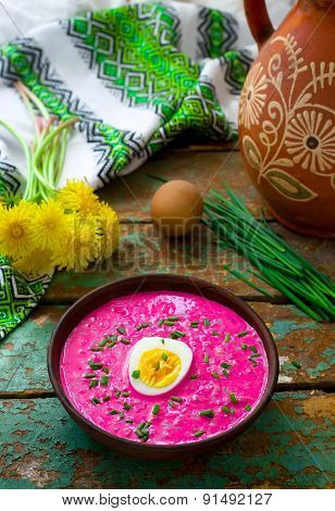 The Lithuanian Cold  Beetroot Soup