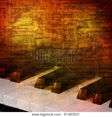 Abstract Grunge Background With Piano Keys