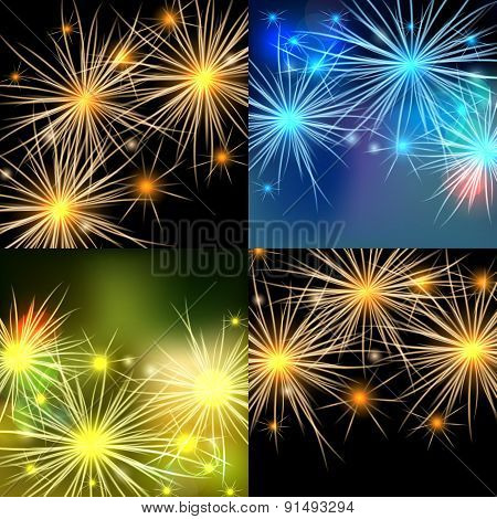 Vector fireworks backgrounds set