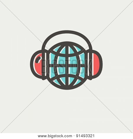World music icon thin line for web and mobile, modern minimalistic flat design. Vector icon with dark grey outline and offset colour on light grey background.