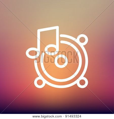 Music tambourine icon thin line for web and mobile, modern minimalistic flat design. Vector white icon on gradient mesh background.