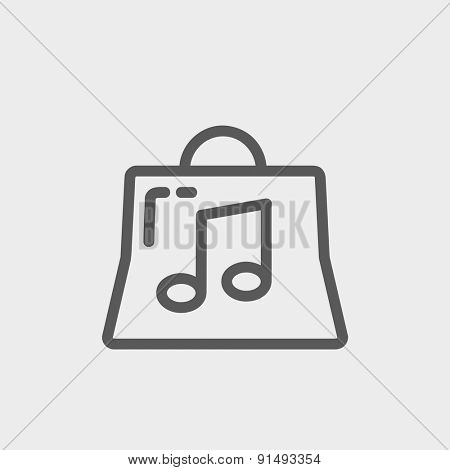 Shopping bag with musical note icon thin line for web and mobile, modern minimalistic flat design. Vector dark grey icon on light grey background.