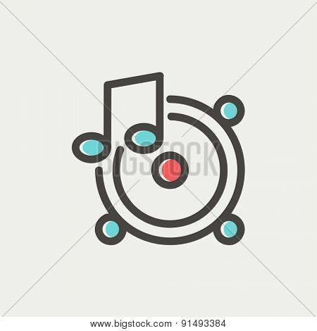 Music tambourine icon thin line for web and mobile, modern minimalistic flat design. Vector icon with dark grey outline and offset colour on light grey background.