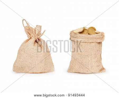 Two Bags Of Coins On A White Background