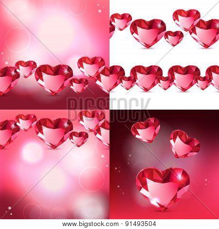 Diamond Hearts backgrounds set