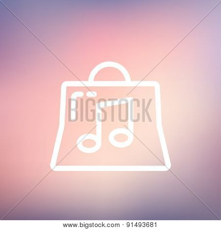 Shopping bag with musical note icon thin line for web and mobile, modern minimalistic flat design. Vector white icon on gradient mesh background.