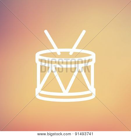 Drum with stick icon thin line for web and mobile, modern minimalistic flat design. Vector white icon on gradient mesh background.