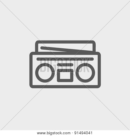 Radio cassette player icon thin line for web and mobile, modern minimalistic flat design. Vector dark grey icon on light grey background.