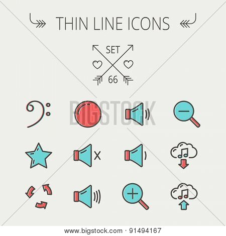 Music and entertainment thin line icon set for web and mobile. Set includes - C-clef, star, replay, stop, volume speaker icons. Modern minimalistic flat design. Vector icon with dark grey outline and