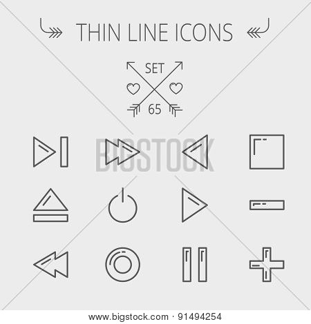 Music and entertainment thin line icon set for web and mobile. Set includes- function keys for music icons. Modern minimalistic flat design. Vector dark grey icon on light grey background.