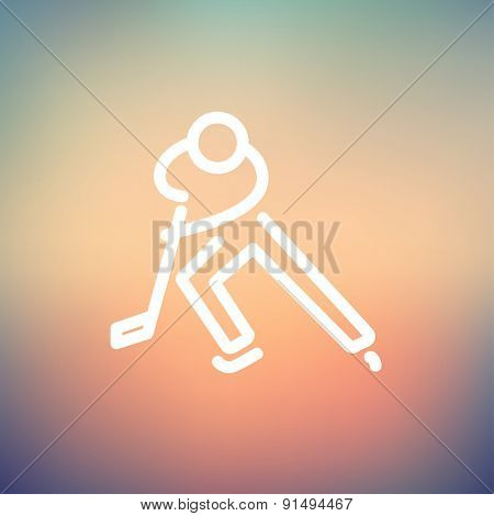 Moving hockey player icon thin line for web and mobile, modern minimalistic flat design. Vector white icon on gradient mesh background.