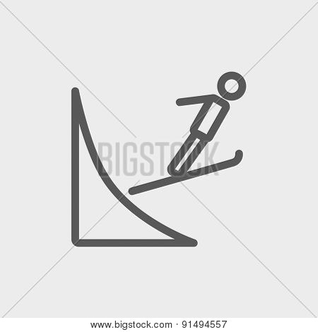 Skier jump in the air icon thin line for web and mobile, modern minimalistic flat design. Vector dark grey icon on light grey background.