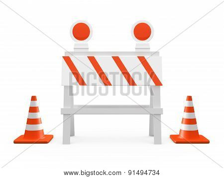 Road Barrier And Traffic Cones