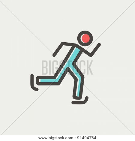 Running man icon thin line for web and mobile, modern minimalistic flat design. Vector icon with dark grey outline and offset colour on light grey background.