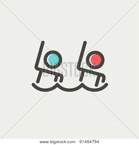 Two boys are swimming icon thin line for web and mobile, modern minimalistic flat design. Vector icon with dark grey outline and offset colour on light grey background.