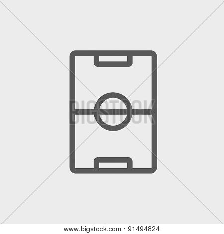 Soccer field icon thin line for web and mobile, modern minimalistic flat design. Vector dark grey icon on light grey background.