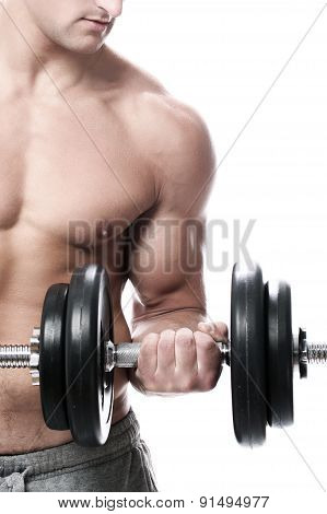 Muscular Guy Doing Exercises With Dumbbells Over White Background