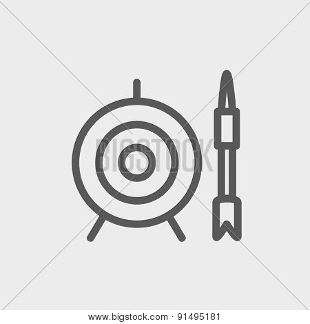 Target and arrow icon thin line for web and mobile, modern minimalistic flat design. Vector dark grey icon on light grey background.