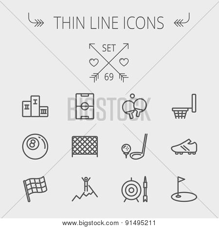 Sports thin line icon set for web and mobile. Set includes-soccer field, soccer shoes, golf flag, target and arrow, ping-pong, podium, skiing icons. Modern minimalistic flat design. Vector dark grey