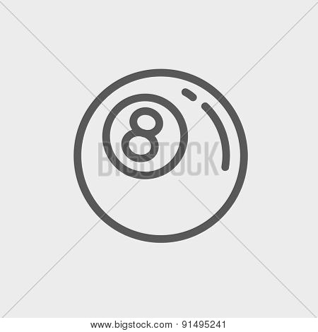 Billiard ball icon thin line for web and mobile, modern minimalistic flat design. Vector dark grey icon on light grey background.