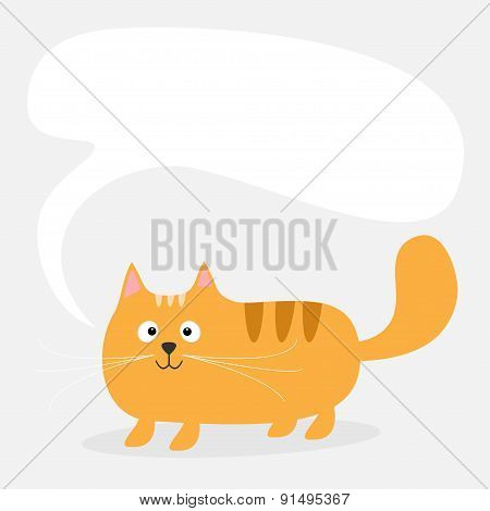 Cute Cartoon Red Cat And Empty Talk Think Bubble. Template Card. Kids Background Flat Design