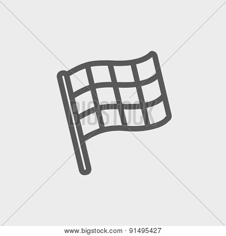 Checkered flag for racing icon thin line for web and mobile, modern minimalistic flat design. Vector dark grey icon on light grey background.