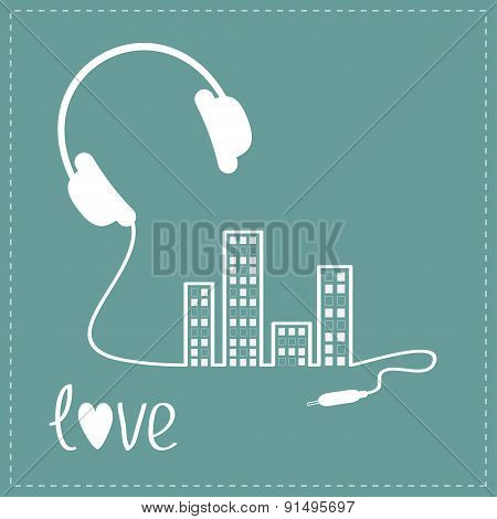 Headphones Cord In Shape Of Equalizer Building House With Swith On Light Windows Love Music Backgrou