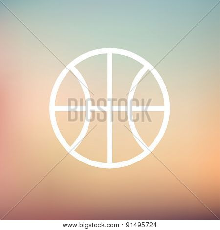 Basketball ball icon thin line for web and mobile, modern minimalistic flat design. Vector white icon on gradient mesh background.