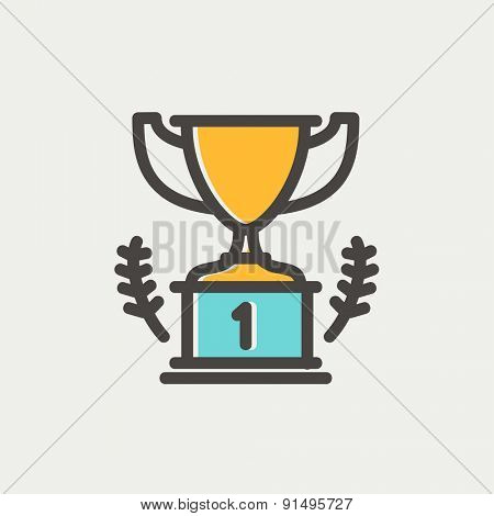 Trophy for first place winner icon thin line for web and mobile, modern minimalistic flat design. Vector icon with dark grey outline and offset colour on light grey background.