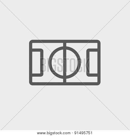 Basketball court icon thin line for web and mobile, modern minimalistic flat design. Vector dark grey icon on light grey background.